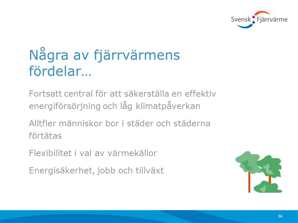 Några av fjärrvärmens fördelar… Fortsatt central för att säkerställa en effektiv energiförsörjning och låg klimatpåverkan Alltfler människor bor i stä
