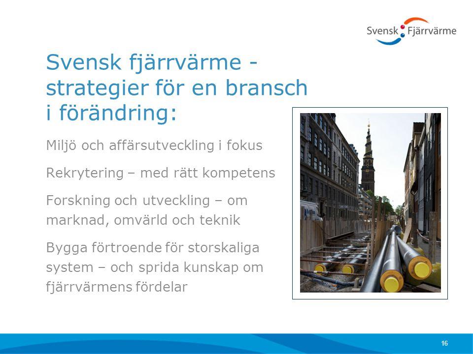 Svensk fjärrvärme - strategier för en bransch i förändring: Miljö och affärsutveckling i fokus Rekrytering – med rätt kompetens Forskning och utveckli