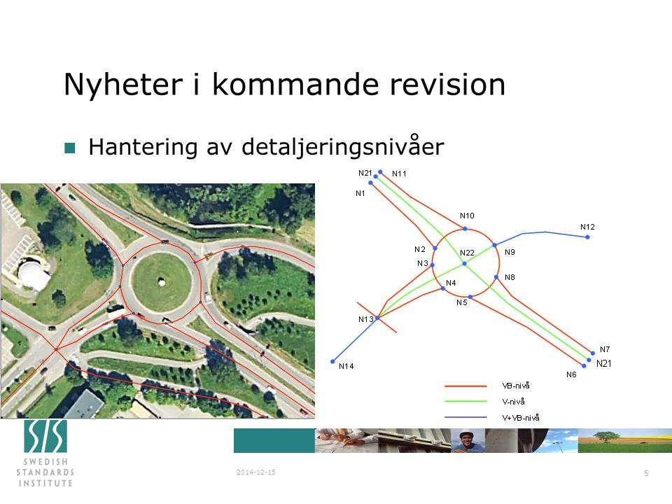SIS/SG Stanli N838 2007-03-29 2014-12-15 5 Nyheter i kommande revision n Hantering av detaljeringsnivåer