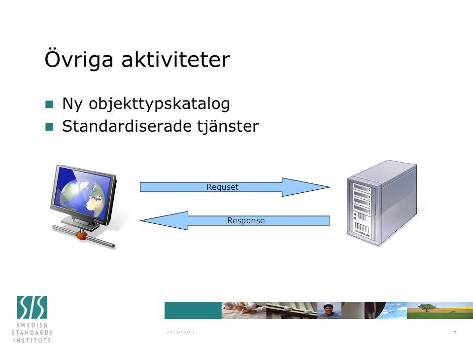 SIS/SG Stanli N838 2007-03-29 2014-12-15 7 Övriga aktiviteter n Ny objekttypskatalog n Standardiserade tjänster Requset Response