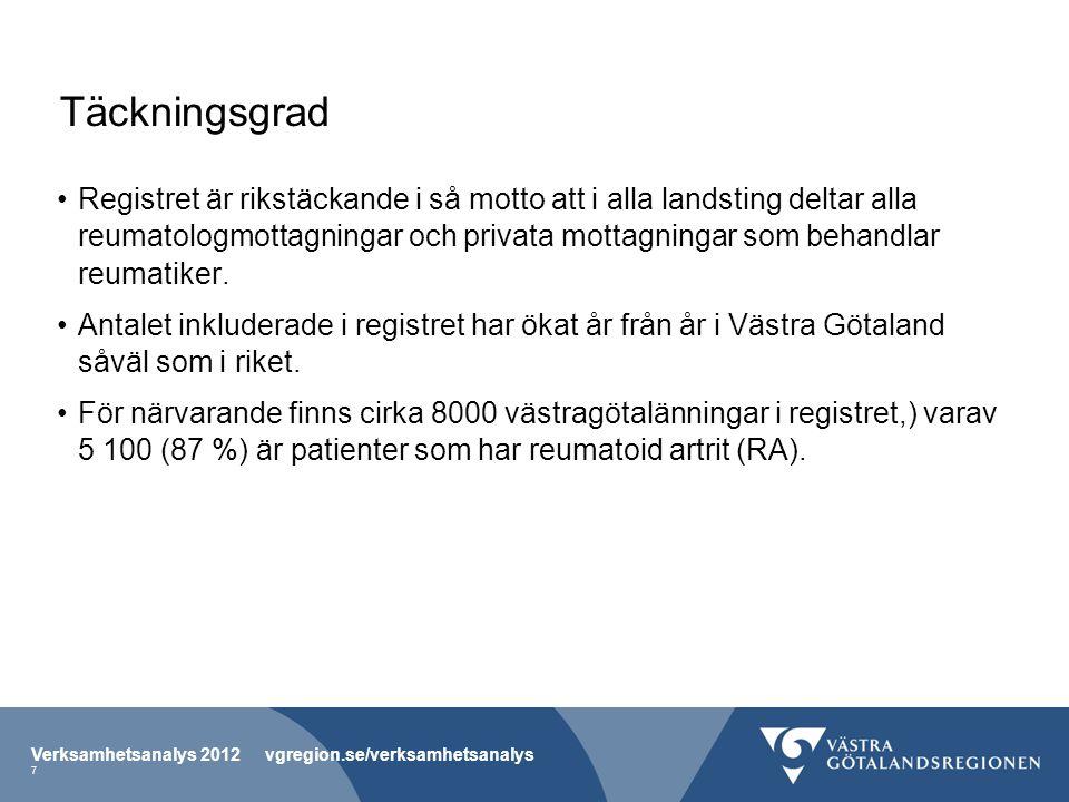 Verksamhetsanalys 2012 vgregion.se/verksamhetsanalys 18