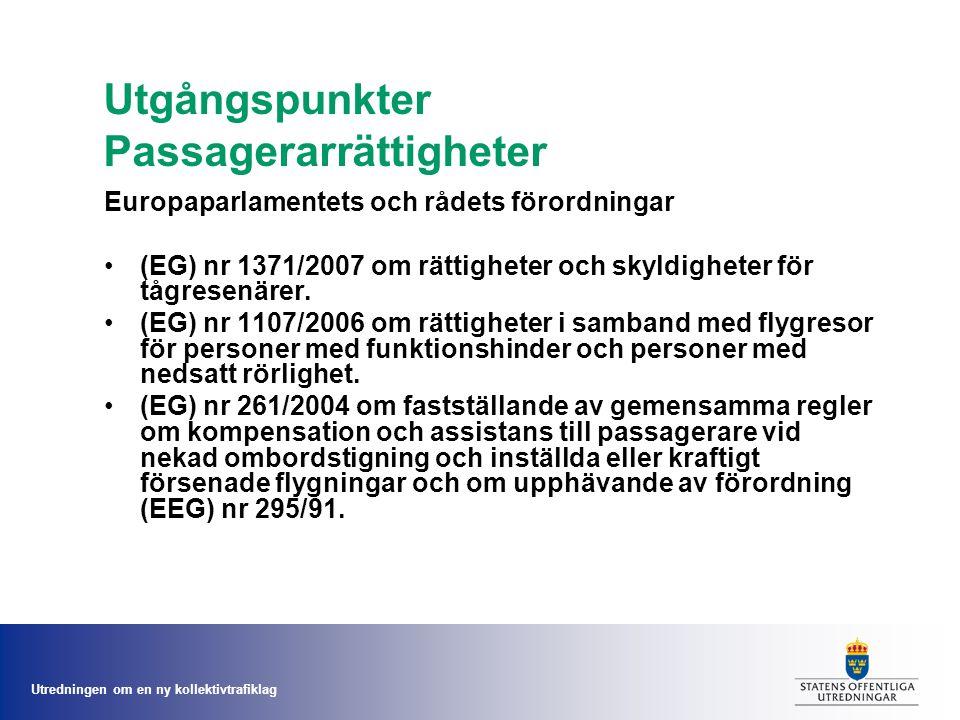 Utredningen om en ny kollektivtrafiklag Utgångspunkter Passagerarrättigheter Europaparlamentets och rådets förordningar (EG) nr 1371/2007 om rättigheter och skyldigheter för tågresenärer.