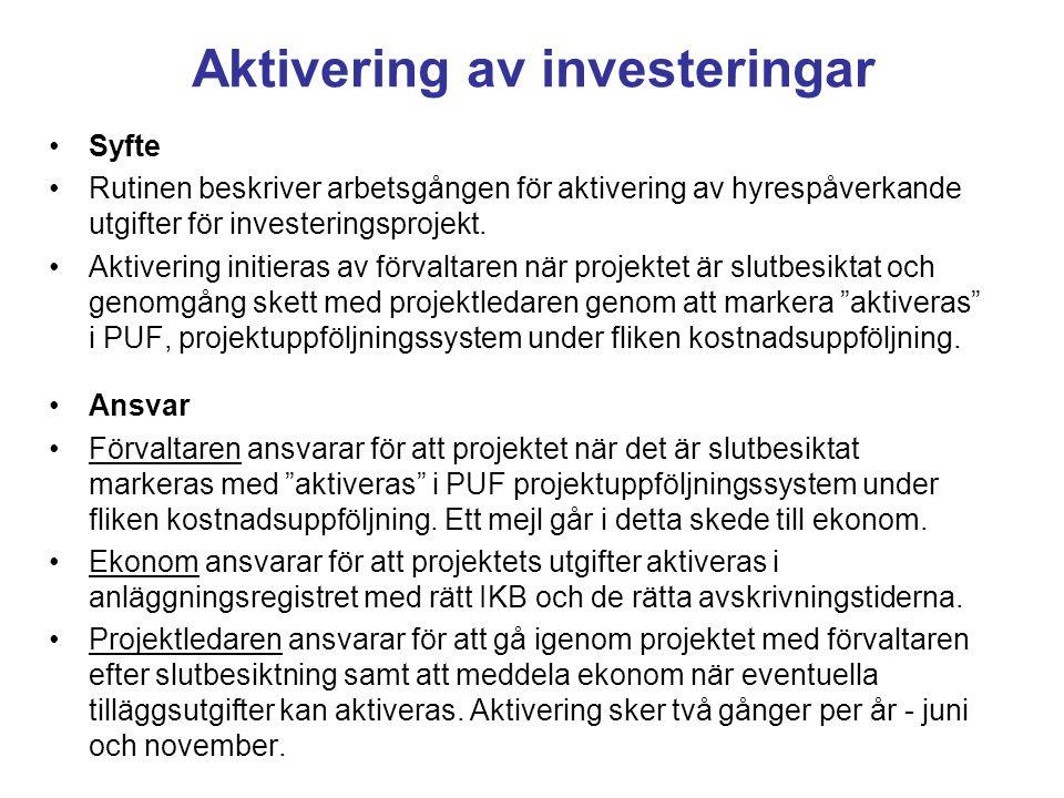 Aktivering av investeringar Syfte Rutinen beskriver arbetsgången för aktivering av hyrespåverkande utgifter för investeringsprojekt. Aktivering initie