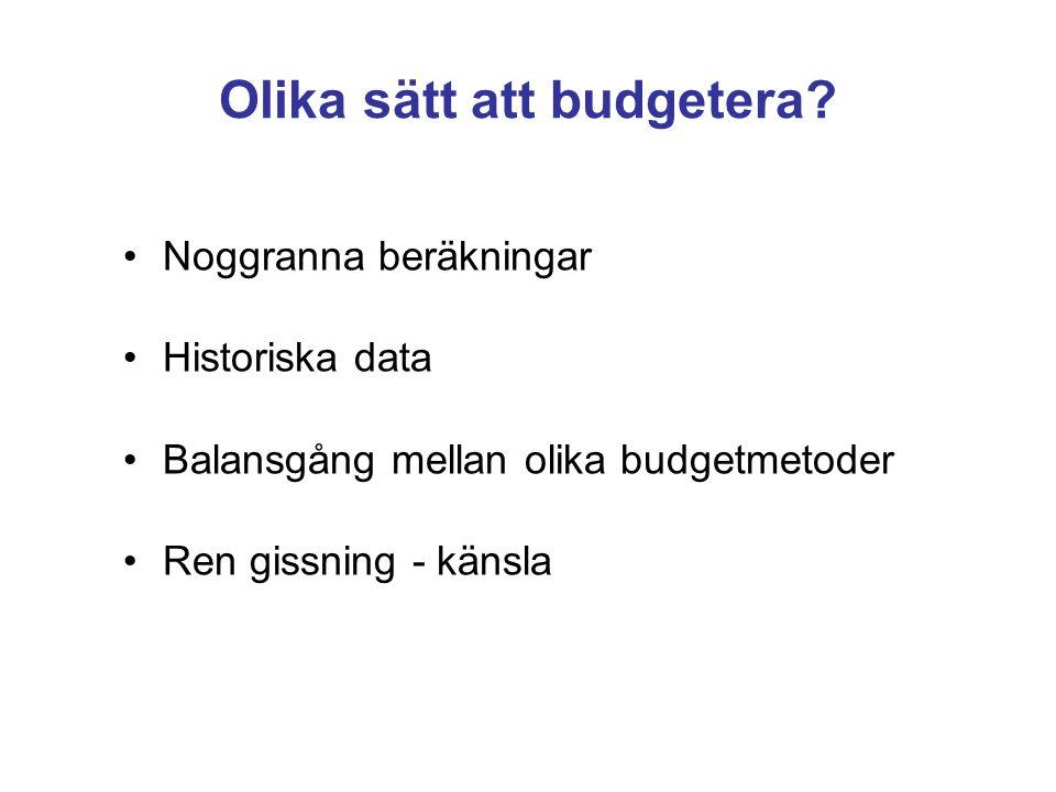 Olika sätt att budgetera? Noggranna beräkningar Historiska data Balansgång mellan olika budgetmetoder Ren gissning - känsla