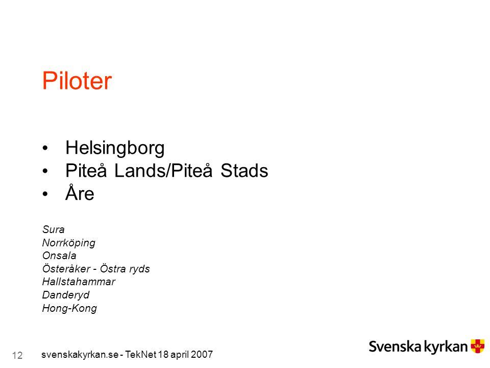 12 svenskakyrkan.se - TekNet 18 april 2007 Piloter Helsingborg Piteå Lands/Piteå Stads Åre Sura Norrköping Onsala Österåker - Östra ryds Hallstahammar