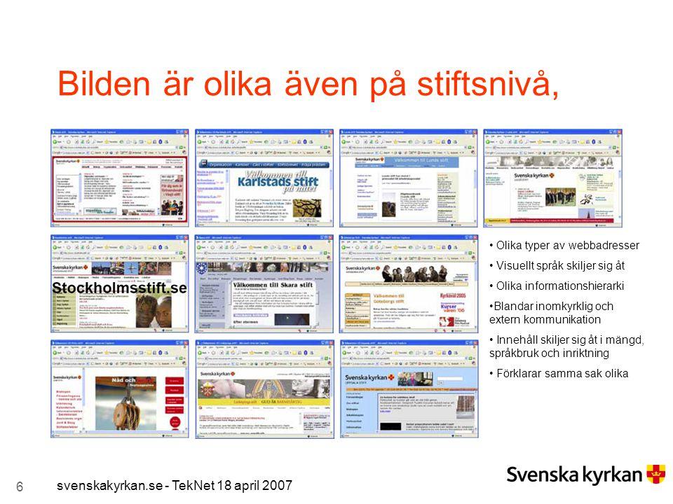 6 svenskakyrkan.se - TekNet 18 april 2007 Bilden är olika även på stiftsnivå, Olika typer av webbadresser Visuellt språk skiljer sig åt Olika informat
