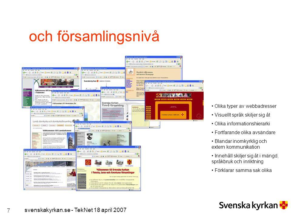 7 svenskakyrkan.se - TekNet 18 april 2007 och församlingsnivå Olika typer av webbadresser Visuellt språk skiljer sig åt Olika informationshierarki For