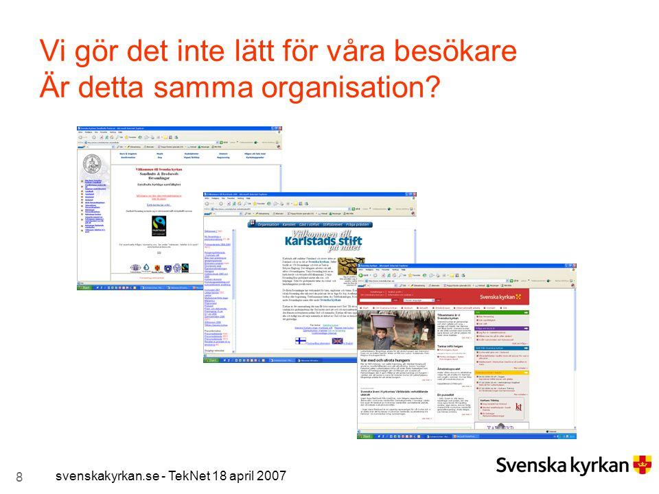 8 svenskakyrkan.se - TekNet 18 april 2007 Vi gör det inte lätt för våra besökare Är detta samma organisation?