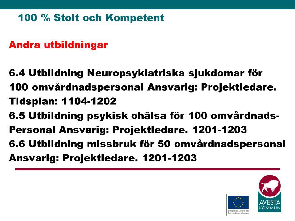 100 % Stolt och Kompetent Andra utbildningar 6.4 Utbildning Neuropsykiatriska sjukdomar för 100 omvårdnadspersonal Ansvarig: Projektledare. Tidsplan: