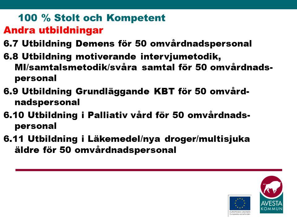 100 % Stolt och Kompetent Andra utbildningar 6.7 Utbildning Demens för 50 omvårdnadspersonal 6.8 Utbildning motiverande intervjumetodik, MI/samtalsmet