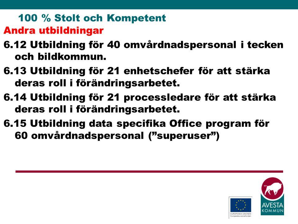 100 % Stolt och Kompetent Andra utbildningar 6.12 Utbildning för 40 omvårdnadspersonal i tecken och bildkommun. 6.13 Utbildning för 21 enhetschefer fö