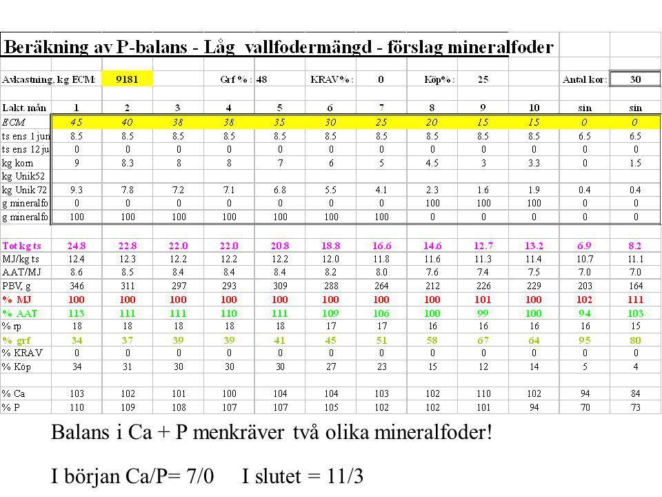 Balans i Ca + P menkräver två olika mineralfoder! I början Ca/P= 7/0 I slutet = 11/3