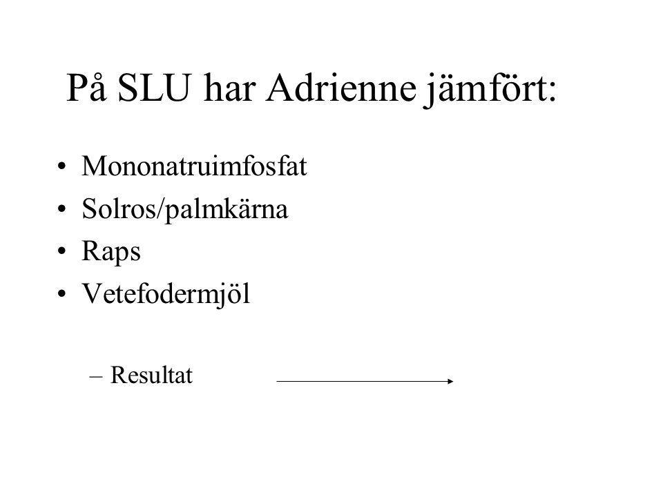 På SLU har Adrienne jämfört: Mononatruimfosfat Solros/palmkärna Raps Vetefodermjöl –Resultat