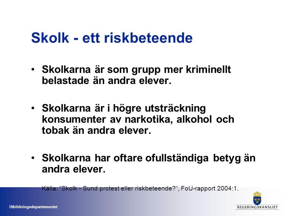 Utbildningsdepartementet Skolk - ett riskbeteende Skolkarna är som grupp mer kriminellt belastade än andra elever. Skolkarna är i högre utsträckning k