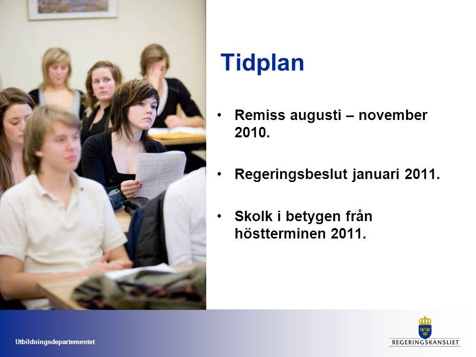 Utbildningsdepartementet Tidplan Remiss augusti – november 2010. Regeringsbeslut januari 2011. Skolk i betygen från höstterminen 2011.