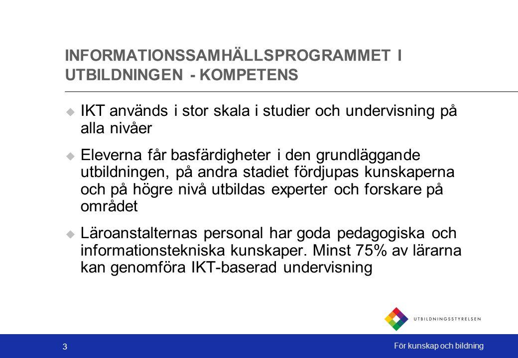 3 För kunskap och bildning INFORMATIONSSAMHÄLLSPROGRAMMET I UTBILDNINGEN - KOMPETENS  IKT används i stor skala i studier och undervisning på alla niv