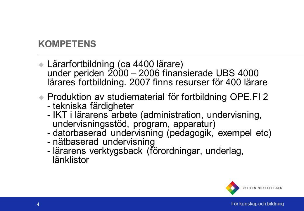 4 För kunskap och bildning KOMPETENS  Lärarfortbildning (ca 4400 lärare) under periden 2000 – 2006 finansierade UBS 4000 lärares fortbildning.