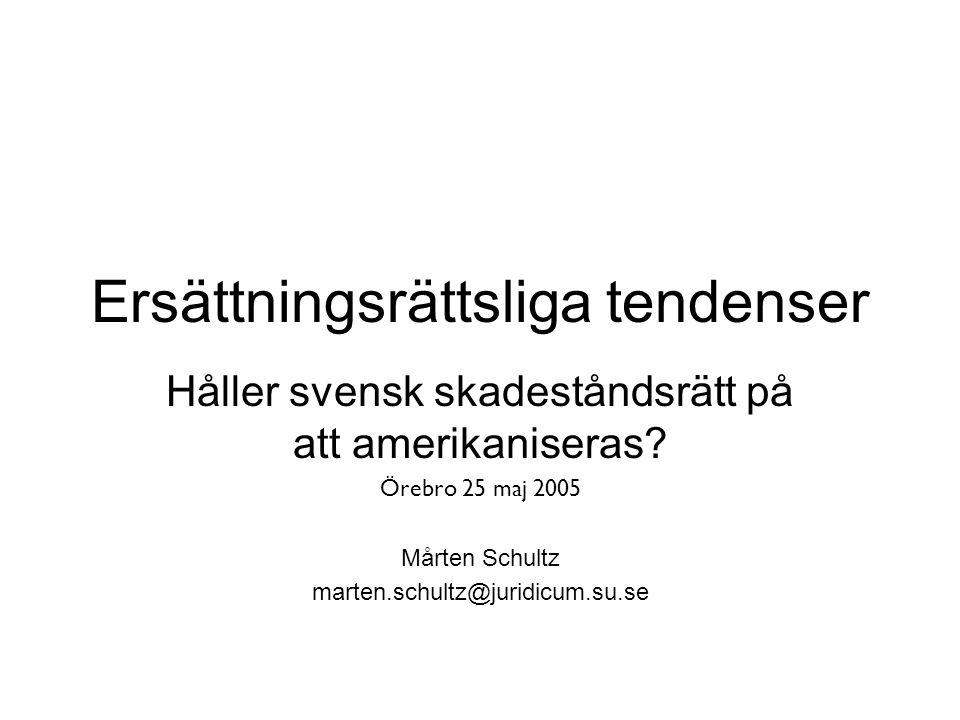 Ersättningsrättsliga tendenser Håller svensk skadeståndsrätt på att amerikaniseras.