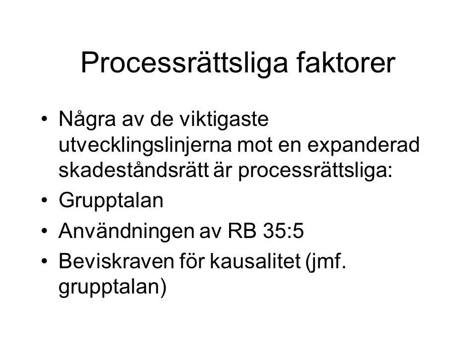 Processrättsliga faktorer Några av de viktigaste utvecklingslinjerna mot en expanderad skadeståndsrätt är processrättsliga: Grupptalan Användningen av RB 35:5 Beviskraven för kausalitet (jmf.