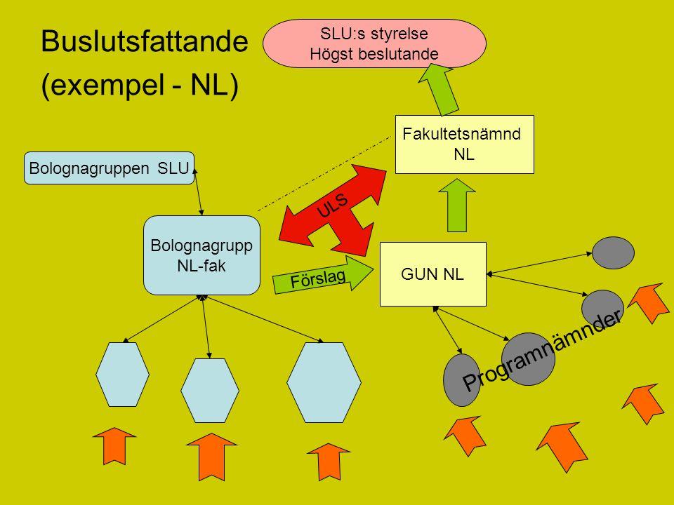 Buslutsfattande (exempel - NL) Bolognagruppen SLU Bolognagrupp NL-fak Fakultetsnämnd NL GUN NL Förslag Programnämnder ULS SLU:s styrelse Högst beslutande