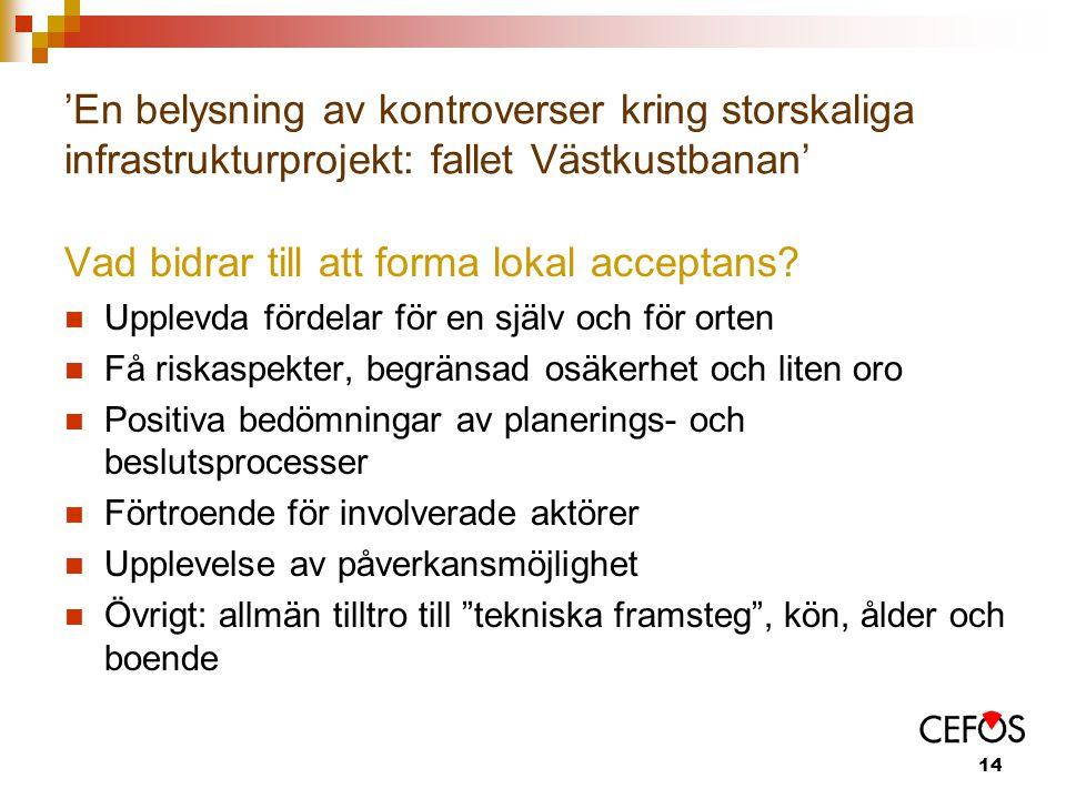 14 'En belysning av kontroverser kring storskaliga infrastrukturprojekt: fallet Västkustbanan' Vad bidrar till att forma lokal acceptans.