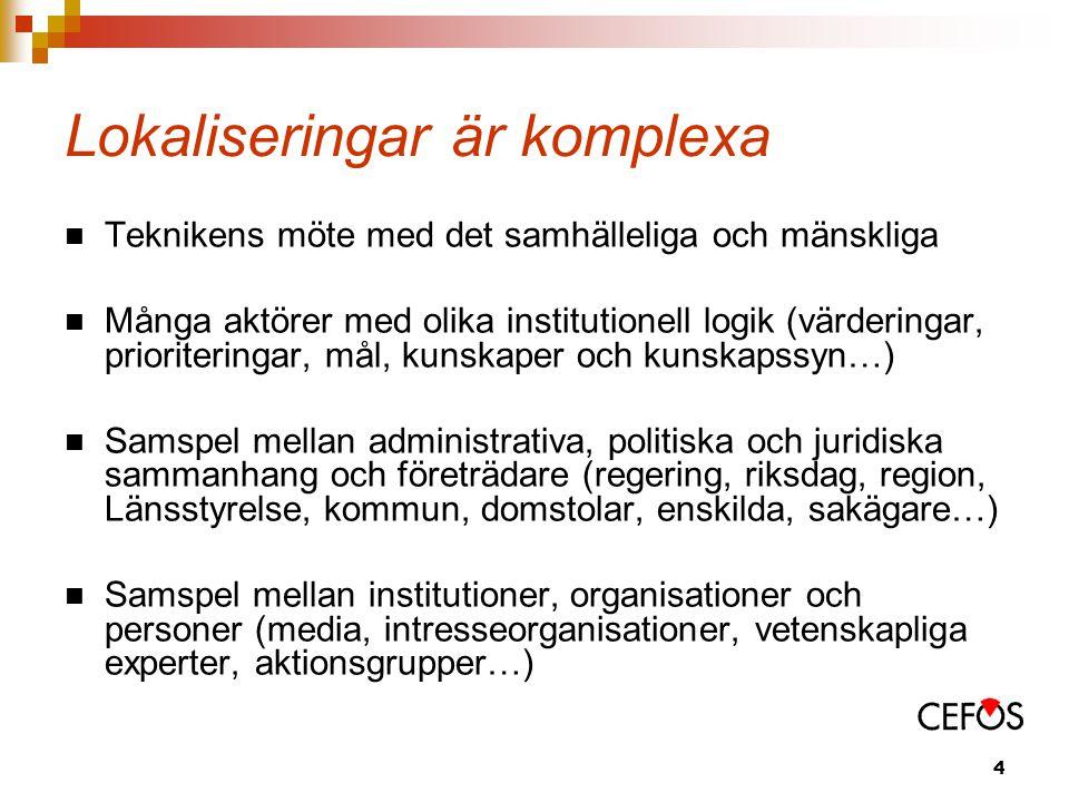4 Lokaliseringar är komplexa Teknikens möte med det samhälleliga och mänskliga Många aktörer med olika institutionell logik (värderingar, prioriteringar, mål, kunskaper och kunskapssyn…) Samspel mellan administrativa, politiska och juridiska sammanhang och företrädare (regering, riksdag, region, Länsstyrelse, kommun, domstolar, enskilda, sakägare…) Samspel mellan institutioner, organisationer och personer (media, intresseorganisationer, vetenskapliga experter, aktionsgrupper…)