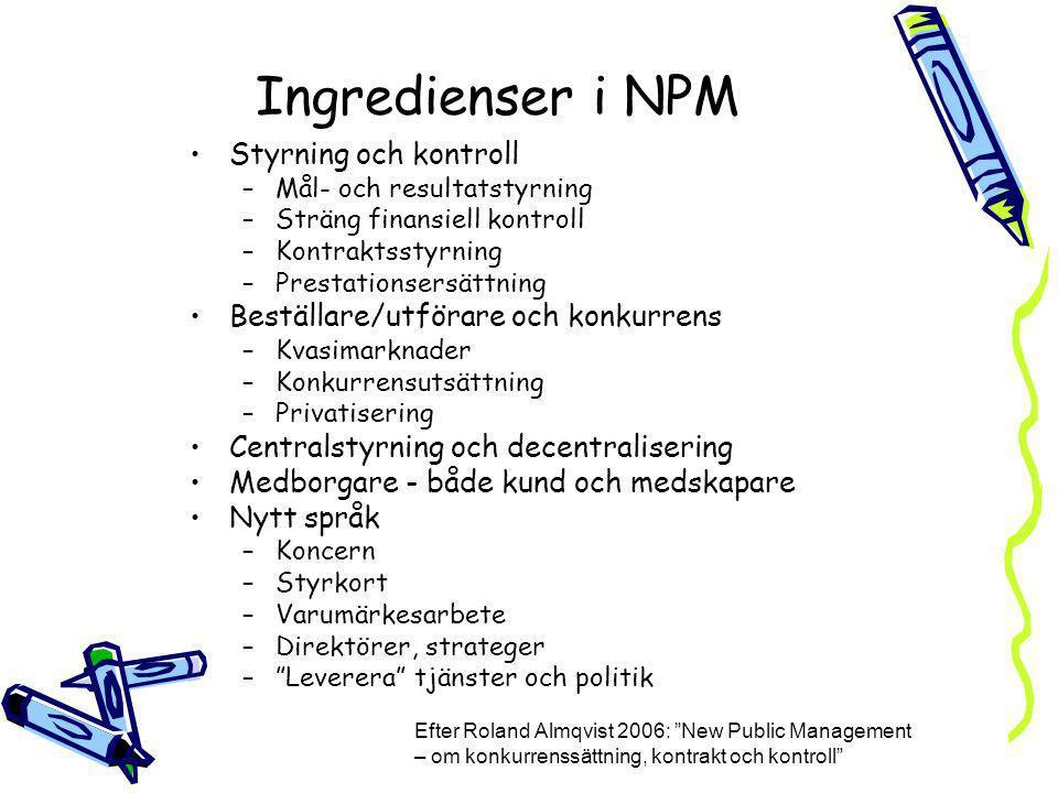 Ingredienser i NPM Styrning och kontroll –Mål- och resultatstyrning –Sträng finansiell kontroll –Kontraktsstyrning –Prestationsersättning Beställare/u