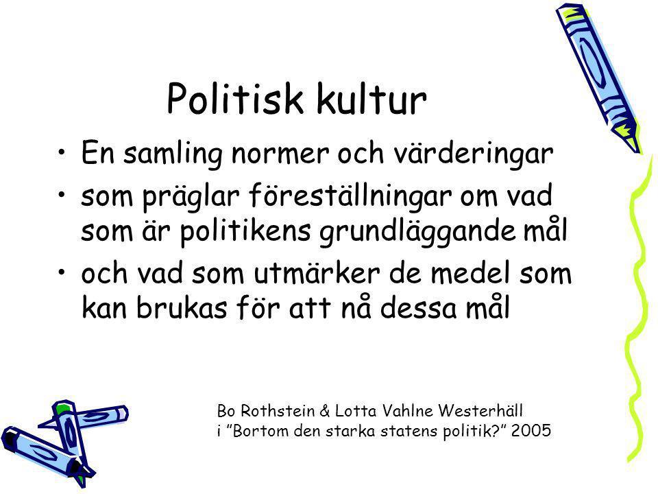 Politisk kultur En samling normer och värderingar som präglar föreställningar om vad som är politikens grundläggande mål och vad som utmärker de medel