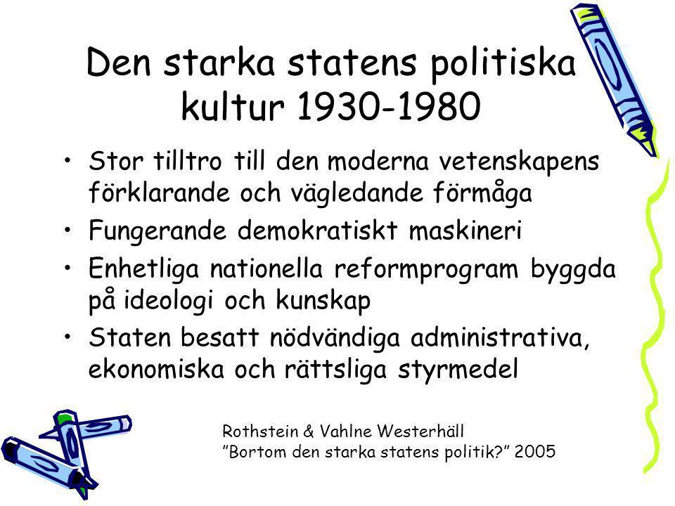 Den starka statens politiska kultur 1930-1980 Stor tilltro till den moderna vetenskapens förklarande och vägledande förmåga Fungerande demokratiskt ma