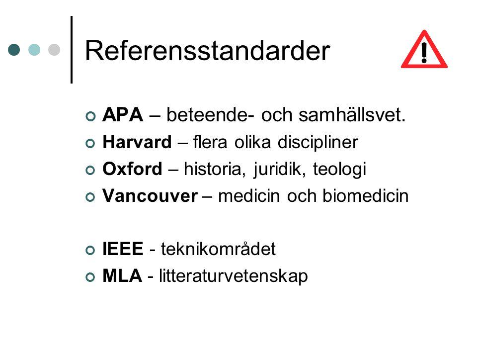 Referensstandarder APA – beteende- och samhällsvet.