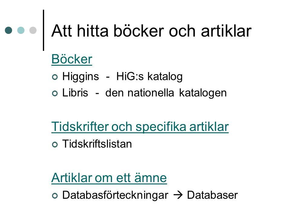 Att hitta böcker och artiklar Böcker Higgins - HiG:s katalog Libris - den nationella katalogen Tidskrifter och specifika artiklar Tidskriftslistan Artiklar om ett ämne Databasförteckningar  Databaser