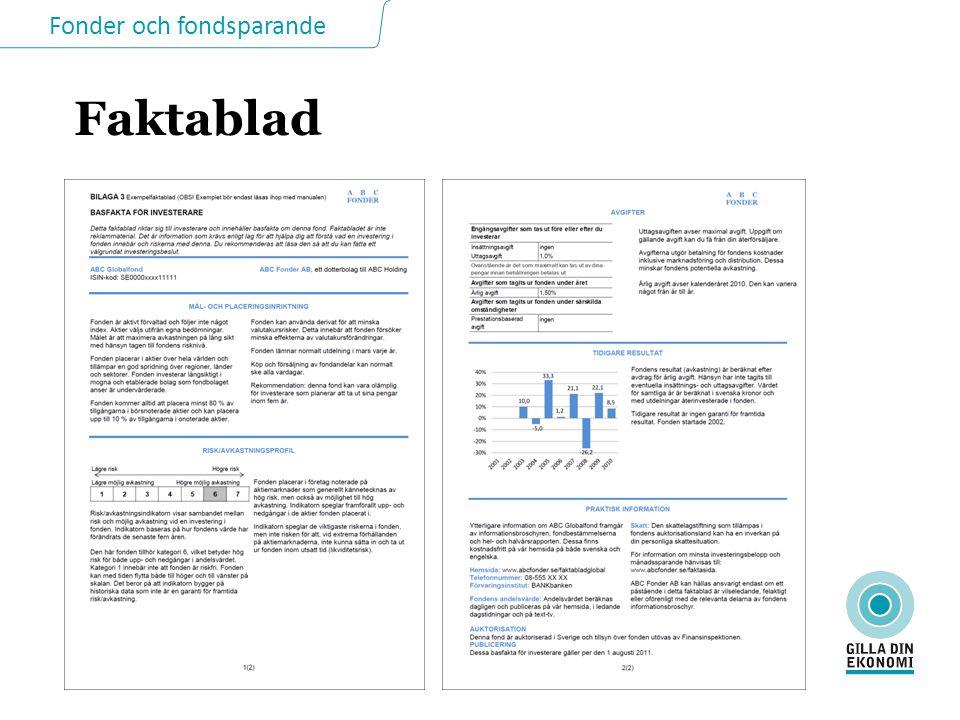 Fonder och fondsparande Faktablad