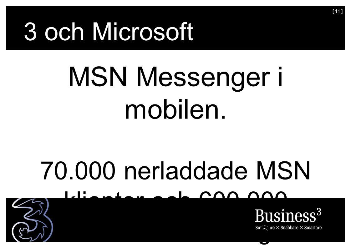 [ 11 ] MSN Messenger i mobilen. 70.000 nerladdade MSN klienter och 600.000 meddelanden/dag.