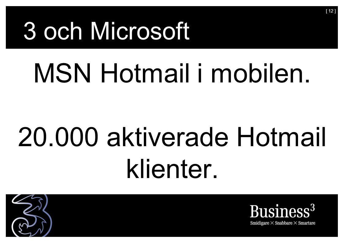 [ 12 ] MSN Hotmail i mobilen. 20.000 aktiverade Hotmail klienter. 3 och Microsoft