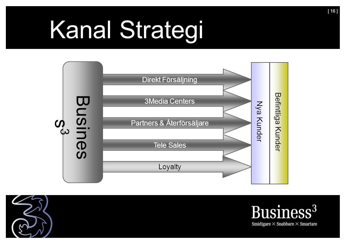 [ 16 ] Kanal Strategi Busines s 3 Direkt Försäljning 3Media Centers Tele Sales Loyalty Partners & Återförsäljare Nya Kunder Befintliga Kunder