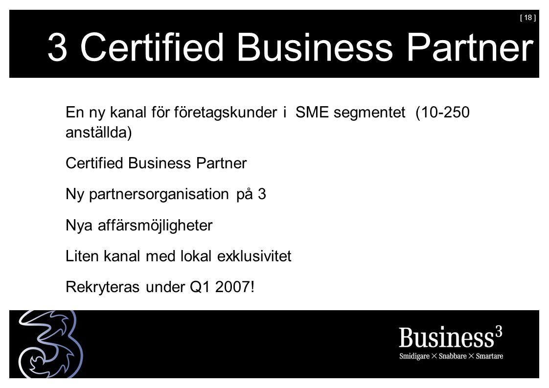 [ 18 ] 3 Certified Business Partner En ny kanal för företagskunder i SME segmentet (10-250 anställda) Certified Business Partner Ny partnersorganisation på 3 Nya affärsmöjligheter Liten kanal med lokal exklusivitet Rekryteras under Q1 2007!