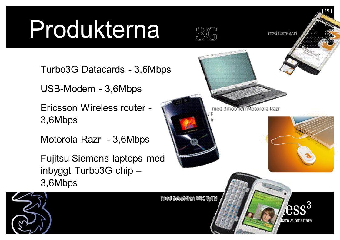 [ 19 ] Produkterna Turbo3G Datacards - 3,6Mbps USB-Modem - 3,6Mbps Ericsson Wireless router - 3,6Mbps Motorola Razr - 3,6Mbps Fujitsu Siemens laptops med inbyggt Turbo3G chip – 3,6Mbps HTC TyTN - 1,8 Mbps