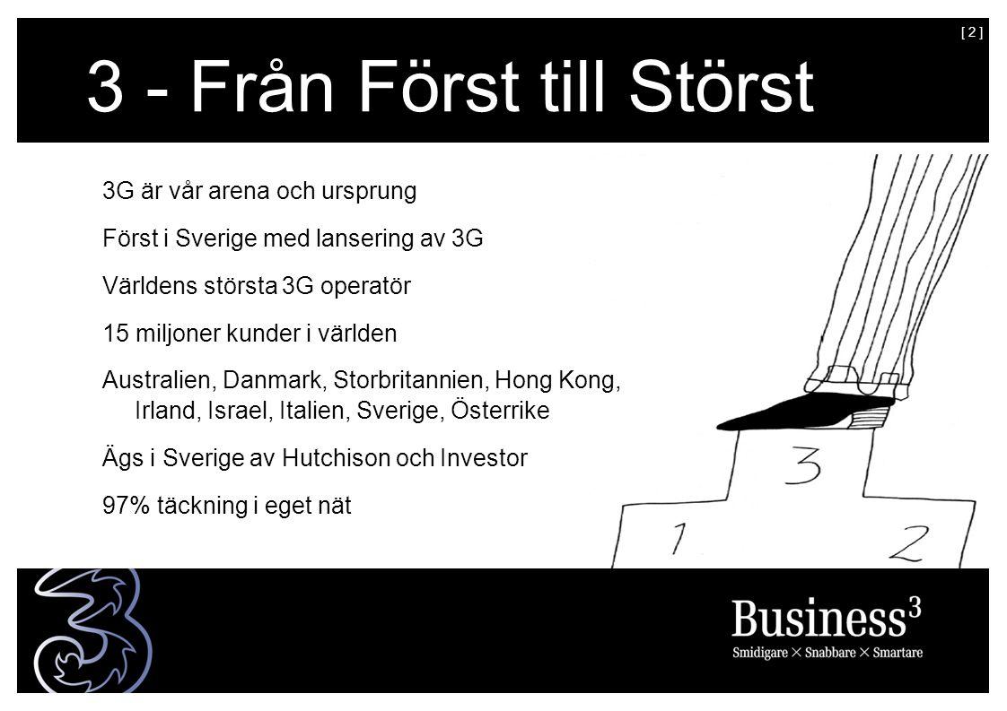 [ 2 ] 3 - Från Först till Störst 3G är vår arena och ursprung Först i Sverige med lansering av 3G Världens största 3G operatör 15 miljoner kunder i världen Australien, Danmark, Storbritannien, Hong Kong, Irland, Israel, Italien, Sverige, Österrike Ägs i Sverige av Hutchison och Investor 97% täckning i eget nät