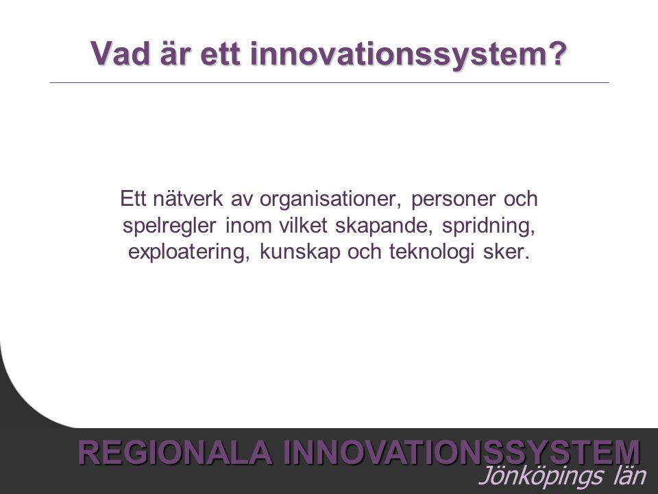 3 REGIONALA INNOVATIONSSYSTEM Jönköpings län Vad är ett innovationssystem? Ett nätverk av organisationer, personer och spelregler inom vilket skapande