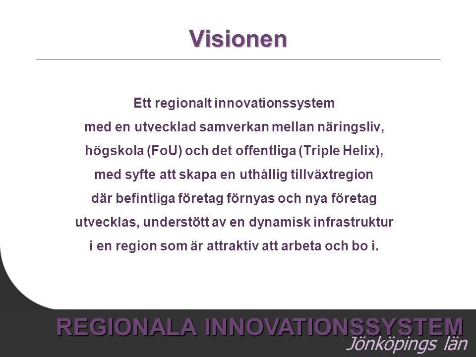 7 REGIONALA INNOVATIONSSYSTEM Jönköpings län Visionen Ett regionalt innovationssystem med en utvecklad samverkan mellan näringsliv, högskola (FoU) och