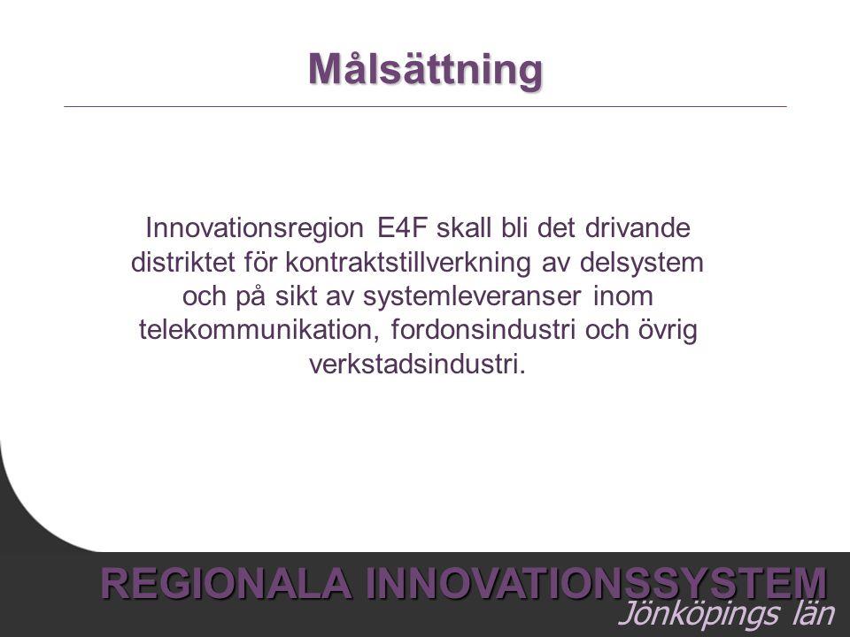 8 REGIONALA INNOVATIONSSYSTEM Jönköpings län Målsättning Innovationsregion E4F skall bli det drivande distriktet för kontraktstillverkning av delsyste