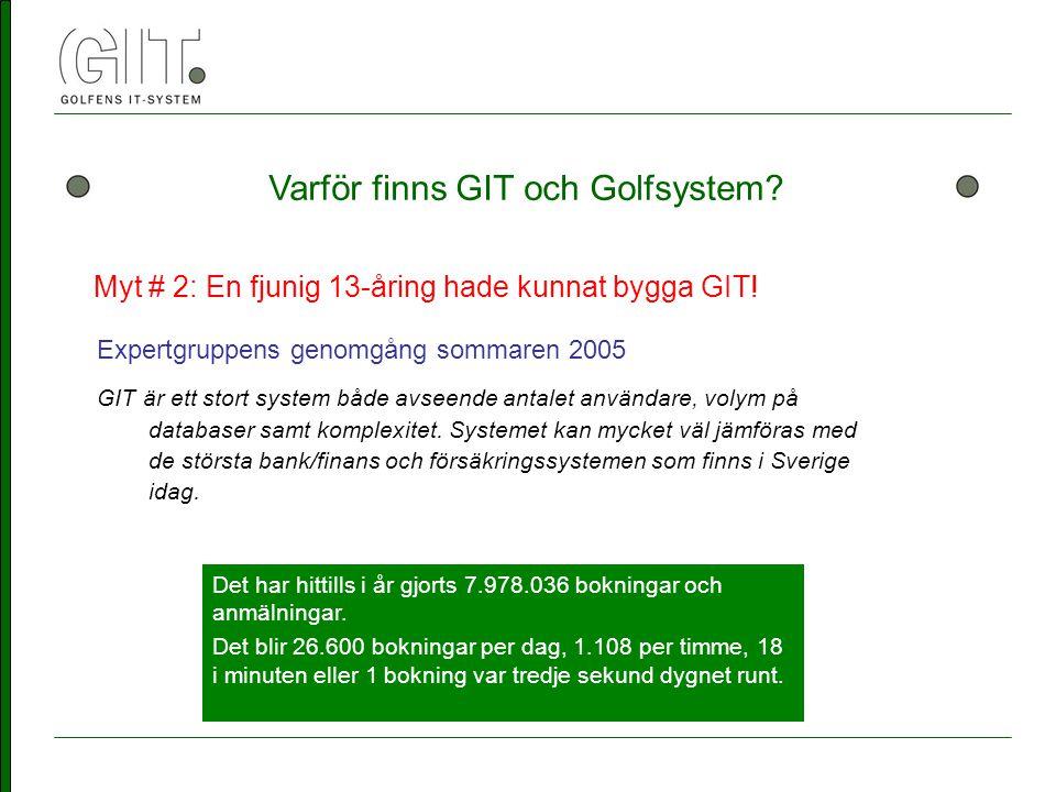 Varför finns GIT och Golfsystem. Myt # 2: En fjunig 13-åring hade kunnat bygga GIT.