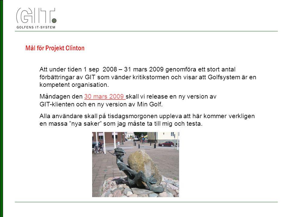Mål för Projekt Clinton Att under tiden 1 sep 2008 – 31 mars 2009 genomföra ett stort antal förbättringar av GIT som vänder kritikstormen och visar att Golfsystem är en kompetent organisation.