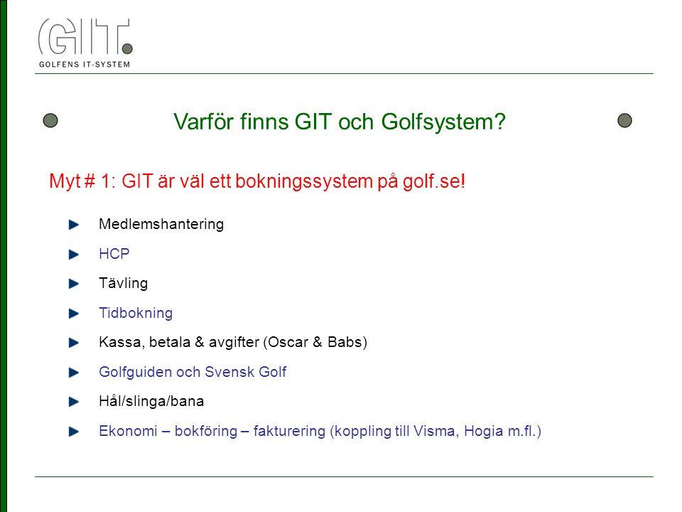 Varför finns GIT och Golfsystem. Myt # 1: GIT är väl ett bokningssystem på golf.se.