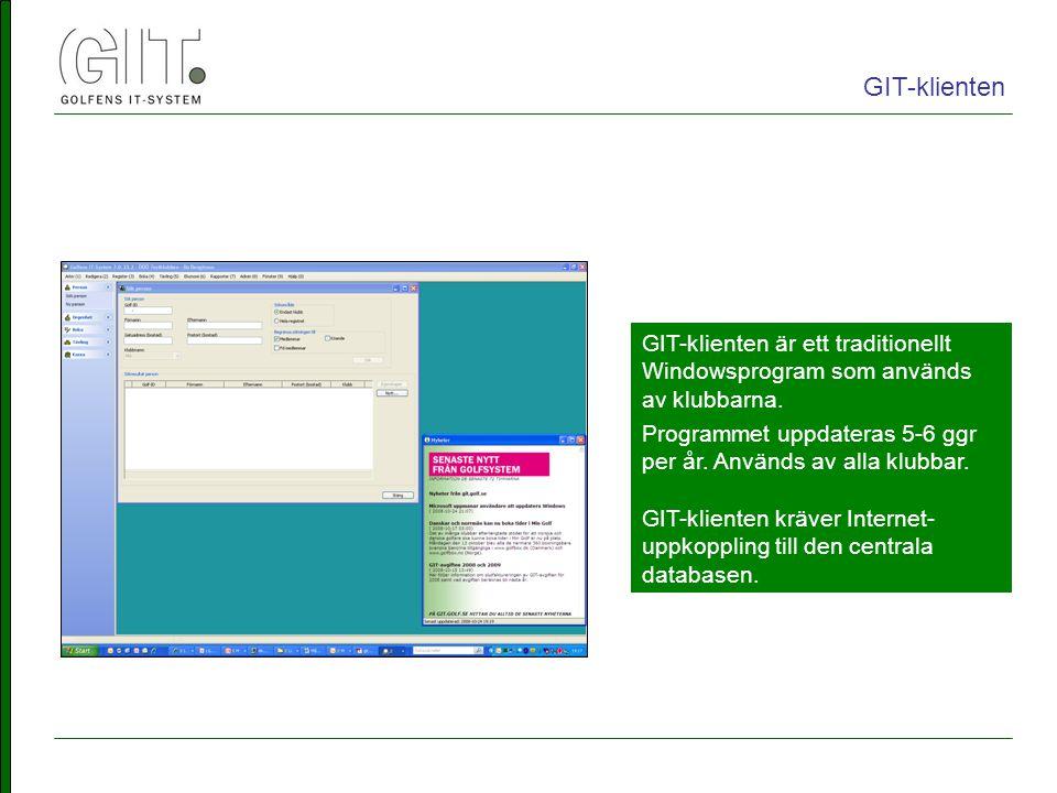 GIT-klienten är ett traditionellt Windowsprogram som används av klubbarna.