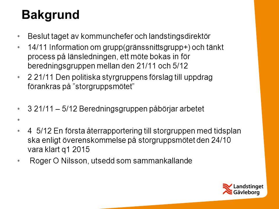 Bakgrund Beslut taget av kommunchefer och landstingsdirektör 14/11 Information om grupp(gränssnittsgrupp+) och tänkt process på länsledningen, ett möt