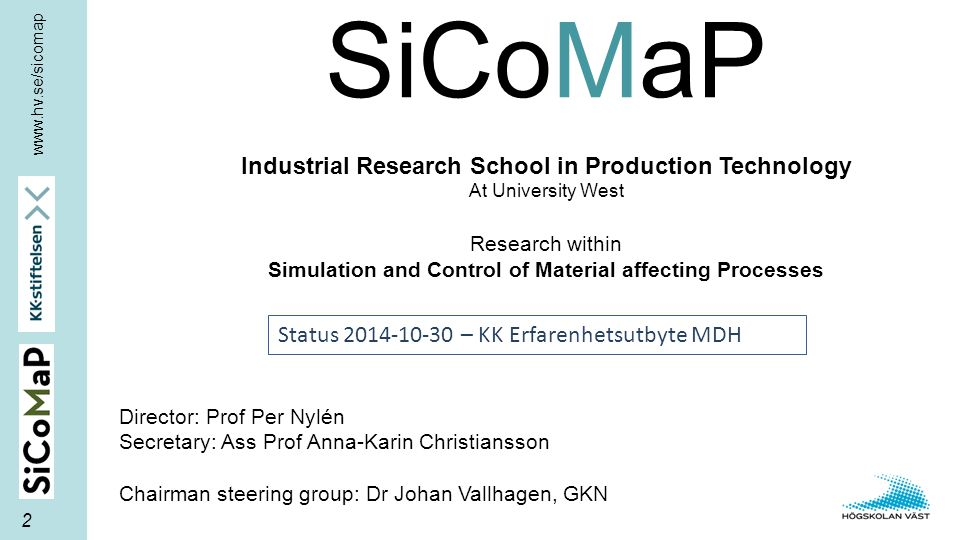 Director: Prof Per Nylén Secretary: Ass Prof Anna-Karin Christiansson Chairman steering group: Dr Johan Vallhagen, GKN SiCoMaP Industrial Research Sch