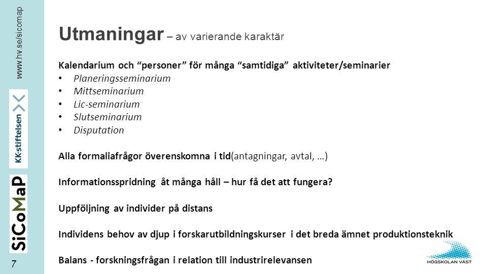 """www.hv.se/sicomap Utmaningar – av varierande karaktär 7 Kalendarium och """"personer"""" för många """"samtidiga"""" aktiviteter/seminarier Planeringsseminarium M"""