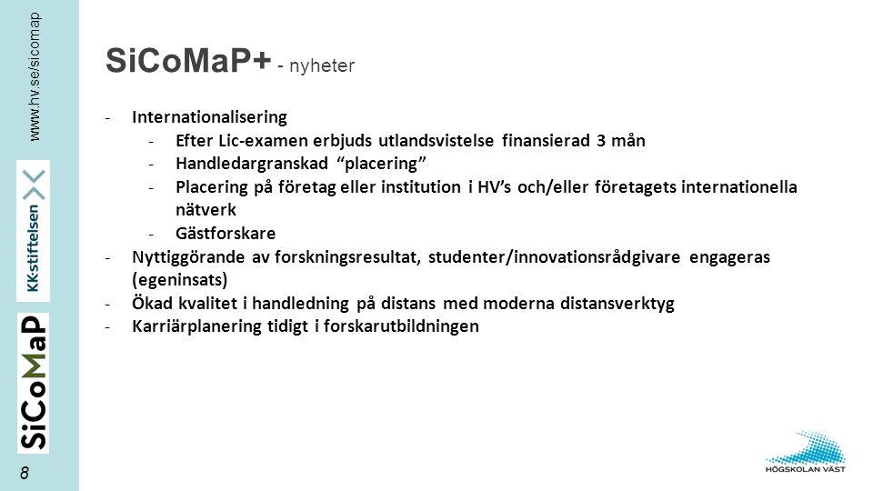"""www.hv.se/sicomap SiCoMaP+ - nyheter 8 -Internationalisering -Efter Lic-examen erbjuds utlandsvistelse finansierad 3 mån -Handledargranskad """"placering"""