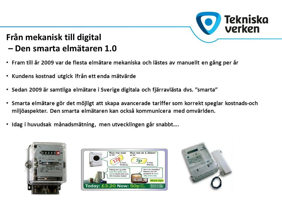 Från mekanisk till digital – Den smarta elmätaren 1.0 Fram till år 2009 var de flesta elmätare mekaniska och lästes av manuellt en gång per år Kundens kostnad utgick ifrån ett enda mätvärde Sedan 2009 är samtliga elmätare i Sverige digitala och fjärravlästa dvs.